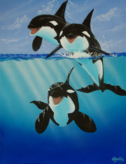 painting of orcas, killer whales by Apollo