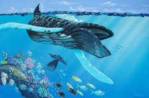 painting of hupback whale by Apollo, this is not a wyland