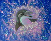 dolphin painting by Apollo, this is not a wyland