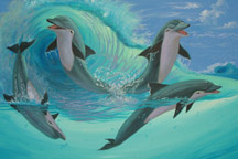 "dolphins play and leap ""Dolphin Wave Play""Original Painting by Apollo ©"